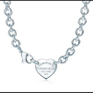 Tiffany and co heart silver choker necklace